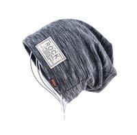 Wholesale winter girl velvet hat - Autumn Hip hop cap Winter beanies men hats Rock logo Casual Cap Turban hat bonnet plus velvet caps for men beanie