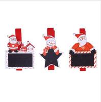 acryl urlaub baum großhandel-6 Stücke 4,8 cm Weihnachtsmann Holz Clips Fotos Bild Clips Anhänger Weihnachtsschmuck für Home Urlaub Party Supplies