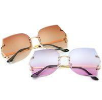 melhores óculos sem moldura venda por atacado-New Frameless Sunglasses Moda decoração Ocean Glasses Star estilo das Mulheres Cortar Óculos De Sol Frete Grátis Melhor presente