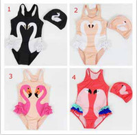 Wholesale cute parrot - 2018 fashion hot selling girl kids one piece bikini + hat summer girl cute Black swan flamingo parrot swimsuit free ship