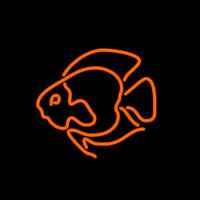 neon de pesca venda por atacado-PEIXE Sinal de Néon Real Bar Tubo De Vidro Loja de Publicidade de Negócios de Decoração Para Casa Exibição de Presente de Metal Frame Tamanho 17''X14 ''