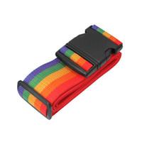 correia da correia da bagagem venda por atacado-Viagem Bagagem Mala Banda Rainbow Color Cinto De Segurança Ajustável Com Preto De Plástico Fivela Cinta De Embalagem Venda Quente 1 78hx B