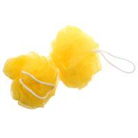 Wholesale Yellow Cleaning Sponge - 2 Pcs Yellow Foam Bubble Puff Shower Pouf Soft Nylon Mesh Net Bath Ball