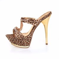 Wholesale Leopard Kitten Heels - 2018 Summer Style Fashion Leopard High Heel Sandals Sexy Platform Slippers Size 35-39
