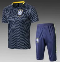 Wholesale brazil football uniform - Survetement football 2018 brazil short sleeves training kits Maillot de foot COUTINHO tracksuits tight pants sport suit soccer Uniforms kit