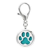 perfume keychain оптовых-Dog Cat Paw KeyChain Essential Oil Aroma Diffuser Perfume Locket with Lobster clasp Keychain keyring With 5pcs free Pads KA61-KA70