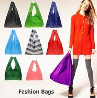 Wholesale Eco Reusable Shopping Bags - Designer Foldable Tote Shopping Bags Eco Friendly Reusable Folding Bag For Woman Men Waterproof Storage Reusable Pouch Plain Colors Sale
