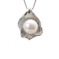 ingrosso pendente bianco perla di 11mm-Ciondolo perla d'acqua dolce 2018 Moda Donna Accessori per gioielli 10-11mm Bianco Viola Perla Oblata 925 Argento con ciondoli Shell Senza catena