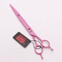 "Wholesale professional pink hair scissors - 9"" 24cm 440C Kasho Pink Clippers for dogs Big Size Scissors Straight Cutting Shears Professional Pets Hair Shears Add Bag H4005"