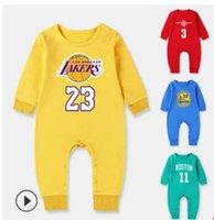 sportspielanzug baby großhandel-Nagelneue Kind-Kleidungs-Frühlings-Herbst-Baumwollbasketball-Overalls 100% neugeborener langärmliger Sportspielanzug-Baby-Spielanzug Freies Verschiffen