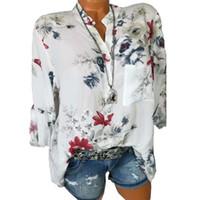 Wholesale white long sleeved blouse women for sale - Female Summer Autumn Vintage Floral Printed Plus Size Blouse Women Long Sleeved Harajuku Shirts Loose Blusas Feminina