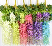 ingrosso viti da fiore per decorazioni-7 colori elegante fiore di seta artificiale glicine fiore vite rattan per giardino casa decorazione di nozze forniture 75 cm e 110 cm disponibili