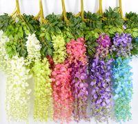 fare renkleri toptan satış-7 Renkler Zarif Yapay İpek Çiçek Wisteria Çiçek Asma Rattan Bahçe Ev Düğün Dekorasyon Malzemeleri Için 75 cm ve 110 cm Mevcut
