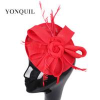 kraliyet gülleri toptan satış-Zarif 2 güller süslenmiş 15 renkler kırmızı Fascinator Şapka saç bandı Düğün Parti Kraliyet Derby Yarış Kadınlar Gelin Saç Aksesuarı SYF32