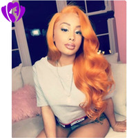 Wholesale brave cosplay online - Free Part Brave Long Orange lace front wig synthetic body wave High Temperature Fiber Synthetic Hair Princess Cosplay Wigs For Halloween