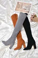 botas altas europe venda por atacado-2018 outono e inverno Europa e nos Estados Unidos sobre o joelho botas de camurça elástica de emagrecimento salto alto apontou botas de moda feminina