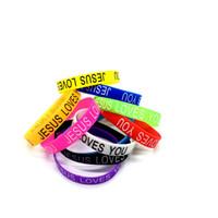 ingrosso braccialetto jesus uomini-Nuovi braccialetti elastici del silicone del braccialetto di 100pcs per i monili delle donne degli uomini Accessori di modo gentile Gesù ti ama Regali di qualità