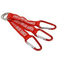 Wholesale Remove Chain - Embroidered Woven Letter Keyring REMOVE BEFORE FLIGHT Key Chain Red Keychain Aviation Safety Tag Keychians G294Q