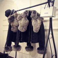 fuchs lederjacken groihandel-Neue Mode Design Frauen faaux Fuchs Pelzkragen Pelzmanschette PU Leder kurze Jacke Mantel Casacos plus Größe XXL