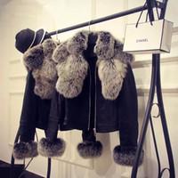 chaqueta de piel xxl al por mayor-Nuevo diseño de moda para mujer cuello de piel de zorro faaux manguito de piel PU chaqueta corta de cuero abrigo casacos más tamaño XXL