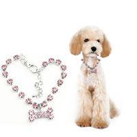 Wholesale Large Blue Crystal Pendant - New Crystal Diamante Bone Rhinestone Pendant Pet Necklace Collar Cat Dog Jewelry AA