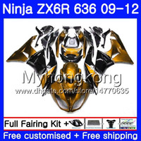 ninja 636 siyah altın toptan satış-Altın ışık Vücut + Tank KAWASAKI NINJA siyah ZX636 ZX-6R 2009 2010 2011 2012 208HM.41 ZX 636 ZX 6R 600CC ZX-636 ZX6R 09 10 11 12 Siyah