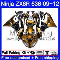 ninja 636 ouro preto venda por atacado-Luz dourada Corpo + Tanque Para KAWASAKI NINJA preto ZX636 ZX-6R 2009 2010 2011 2012 208HM.41 ZX 636 ZX 6R 600CC ZX-636 ZX6R 09 10 11 12 Carenagens