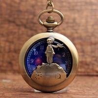 bronz cep saatleri toptan satış-Vintage Bronz Küçük Prens Ile Kuvars Pocket saat Zincir Kolye Kolye Hediye Çocuk Boy Için