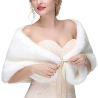Wholesale winter wedding coat online - Cheap Bridal Wraps Fake Faux Fur Glamour Wedding Jackets Street Style Fashion Cover up Cape Coat Shrug Shawl Bolero CPA1602