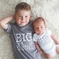 büyük yeni doğan toptan satış-Aile Eşleşen Giyim Çocuk Yenidoğan Bebek Erkek Bodysuit Büyük Kardeş T gömlek Küçük ve Büyük Kardeş için Kıyafetler Tops