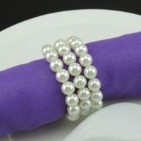 Wholesale Serviette Wedding - Wholesale- Free Shipping 50pcs lot Pearl Napkin Rings Serviette Holder For Wedding Party Banquet Adornment