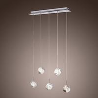 led kolye ışık k9 toptan satış-Modern K9 Kristal LED Kolye Işık Lamba Yemek Odası Için 5 Işıkları ile Cilalar e Pendentes Lustre De Cristal