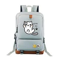Wholesale girls cat school bags resale online - Neko Atsume bag school backpack travel Shoulder Bag lovely cute cat Kitty backyard for girls women bags for teenagers