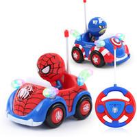 reproducir música de radio al por mayor-Capitán América Música Ligera RC Coche de Juguete Spiderman Control Remoto Juguetes Eléctricos Automático Jugar Coche juguetes para niños Boy Girl regalo