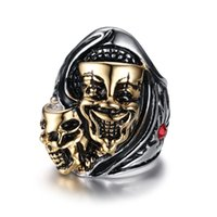 Wholesale costume jewelry diamond sets - Stainless Steel Skull Ring Punk Man's High Quality Vintage Fashion Jewelry Personality CZ Diamond Finger Ring Costume Accessories RC-177
