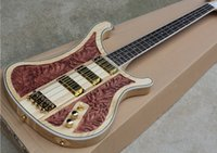 Wholesale hand carving guitar bodies for sale - Group buy New Style Quality AAA deluxe edition neck through body nc carving Rick Nature Wood Pickups Strings Electric Bass Guitar
