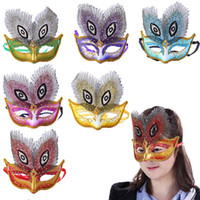 Wholesale sexy peacock masks resale online - 6PCS Masquerade Mask Sexy Peacock Eyes Decor Half Face Mardi Gras Mask Costume Mask For Halloween