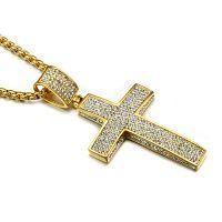 pingentes de religião venda por atacado-Religião Cor De Ouro Congelado Para Fora Colar De Cruz De Pavimentação Cz Cruz De Aço Inoxidável Crucifixo Pingentes Colares Jóia Cristã Das Mulheres Dos Homens