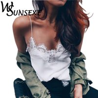 Wholesale women wearing lace tank tops for sale - Group buy Women Lace Tank Top Female Sexy White Black Silk Cami Top Straped Evening Club Party Wear Plus Size Summer Satin Camis Tops
