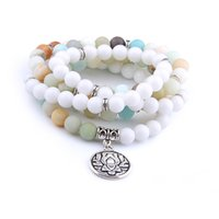 Wholesale amazonite jewelry - Fashion 108 Matte Amazonite Beads Bracelet or Necklace Buddha Lotus Pendant Men Bracelet Yoga Engery Healing Women Charm Jewelry