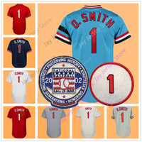 Wholesale button cool - Ozzie Smith Jersey with 2002 Hall Of Fame Patch Cooperstown 1992 Blue Red White Cream Grey Flexbase Cool Base BP Mesh Pullover Button Down
