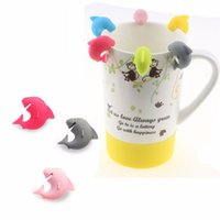 Wholesale label marker online - 6Pcs Set Cute Shark Cup Marker Party Dedicated Tag Wine Glass Food Grade Silicone Label Wine Glasses Recognizer