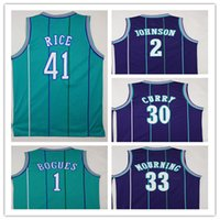Wholesale High Johnson - NCAA High Quality Embroidery1 Tyrone Muggsy Bogues Jerseys Green Purple 2 Larry Johnson 30 Dell Curry 33 Alonzo Mourning Shirt Uniform 41 Gl