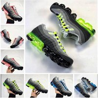 Wholesale neon casual shoes - Vapormax Tn Plus Running Shoes Men Mens Man Red Cargo Neon 95 Casual Sports Canvas Tennis Training Original Zapatos Running Shoe Sneakers