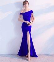 vestido maxi de verão azul royal venda por atacado-2018 Royal Blue Summer Dress Vestidos Femininos Mulheres Longo Maxi Vestidos de Festa de Formatura Elegante Sexy Clube Dividir Barra Pescoço Longos Vestidos de Noite