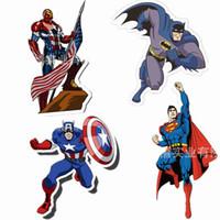 pegatinas de superman 3d al por mayor-4 de acero como superhéroes, Iron Man, Capitán América, Batman, Superman, cuatro adhesivos de pared de diferentes personajes