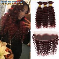 Wholesale 99j human hair wavy - 99j Bundles With Closure Peruvian Deep Wave Human Hair 8a Virgin Human Hair Weave Wet And Wavy 3 Bundles With Lace 13x4 Frontal Closure