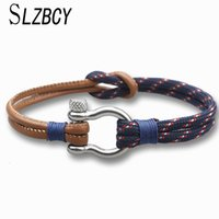 Wholesale leather bracelets for sale - Group buy SLZBCY Parachute cord Survival Leather Bracelet Men Women High Quality Fashion Jewelry Stainless Steel Shackle Buckle Bracelets