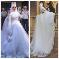 vestidos de casamento muçulmanos modestos frisados venda por atacado-2018 Alta Neck Modest Muçulmano Vestidos de Casamento Apliques de Renda Frisado Mangas Completas Feitos Sob Encomenda Puffy Tulle Vestido De Baile Lace Bridal Gowns