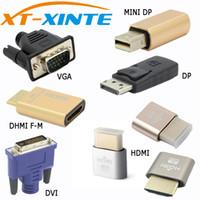 Wholesale vga dvi dp - Q22099 EDID Connector VGA DVI HDMI Mini DP Displayport Virtual Display Dummy Adapter Plug EDID Headless KVM 2560 &1920*1080p@60Hz 4K